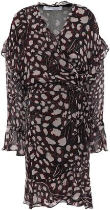 IRO Linger Ruffled Leopard-print Chiffon Mini Wrap Dress