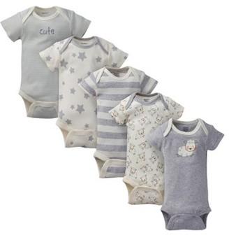 Gerber Baby Boy or Girl Gender Neutral Organic Onesies Short Sleeve Bodysuits, 5-Pack