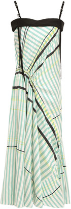 Cédric Charlier Ruched Embellished Striped Twill And Crepe Midi Dress