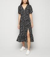 New Look Floral Side Split Peplum Midi Dress