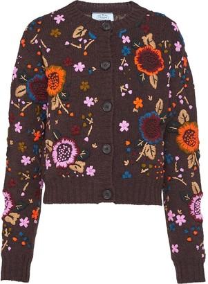 Prada Embroidered Shetland Floral Cardigan