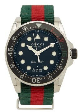 Gucci Dive Web-striped Stainless-steel Watch - Mens - Multi