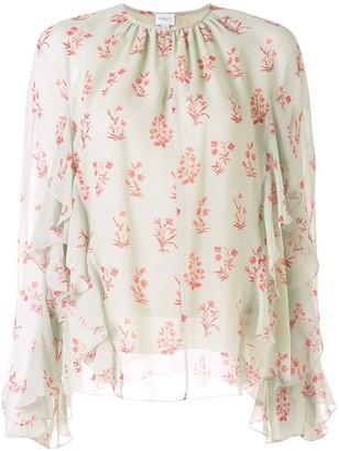 Giambattista Valli Floral-Pattern Ruffled Blouse