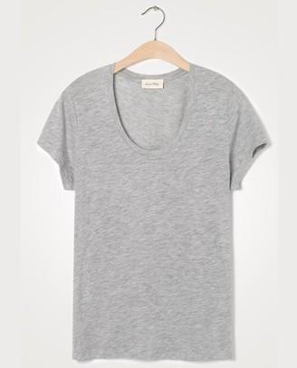 American Vintage Jacksonville Grey V Neck T Shirt - X Small