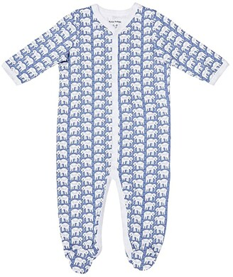 Roller Rabbit Hathi Footie Pajamas (Infant) (Blue) Kid's Jumpsuit & Rompers One Piece