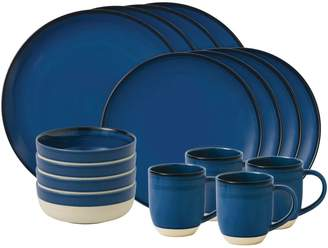 ED Ellen Degeneres Crafted by Royal Doulton 16-Piece Dark Blue Brushed Glaze Dinnerware Set