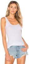 Enza Costa Rib Scoop Back Tank in White. - size 0 / XS (also in 1 / S,2 / M,3 / L)