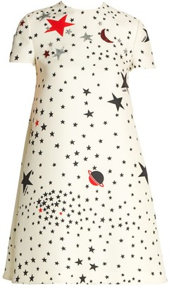 Valentino Cosmo-Print Virgin Wool & Silk Shift Dress