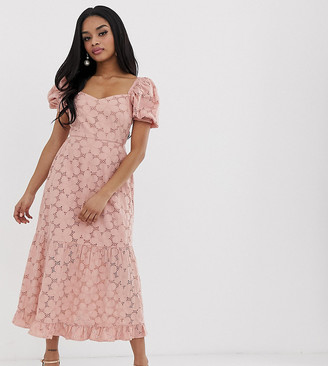 Asos DESIGN Petite broderie maxi dress with sweetheart neckline and puff sleeves-Pink