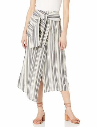 BCBGMAXAZRIA Women's Striped Asymmetrical Midi Skirt