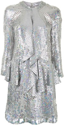 Givenchy Pre Owned Sequinned Ruffled Detail Dress