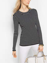 Michael Kors Stretch-Viscose Striped Ribbed Sweater