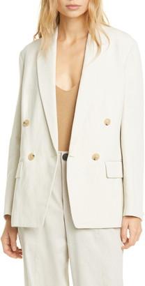 Vince Double Breasted Cotton & Linen Blend Blazer