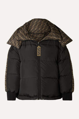 Fendi Reversible Quilted Printed Shell Down Jacket - Black