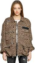 R 13 Destroyed Leopard Printed Denim Jacket
