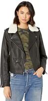 Levi's Asymmetrical Banded Bottom Moto with Sherpa Collar (Black/Cream) Women's Coat