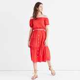 Madewell Bistro Midi Skirt in True Red