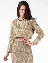 Jaded London Gold Quilted Long Sleeve Crop Top