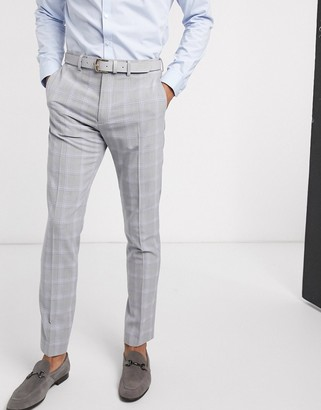 ASOS DESIGN wedding skinny suit trousers in blue and grey windowpane check