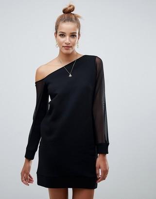 Asos Design DESIGN off shoulder sweat dress with mesh sleeve