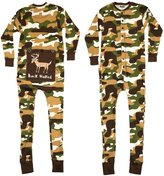 Lazy One Buck Naked Deer Flapjacks Unisex Adult Pajamas (Green Camo,)