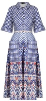 Saloni Natalie contrast-print stretch-cotton shirtdress