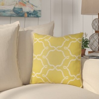 """Dahl Indoor/Outdoor Geometric Throw Pillow Breakwater Bay Size: 20"""" H x 20"""" W, Color: Onyx Black/Ivory"""