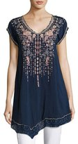 Johnny Was Rubina V-Neck Embroidered Long Tunic, Blue Night