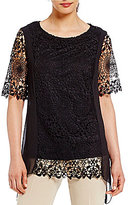 Investments Short Sleeve Lace Panel Tunic