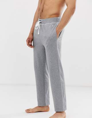 Polo Ralph Lauren loop back jersey jogger with contrast stitch and polo player in grey-Black