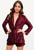 Missguided Petite Burgundy Crushed Velvet Suit Jacket Co Ord, Red