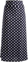 Glam Navy & White Polka Dot Maxi Skirt - Plus