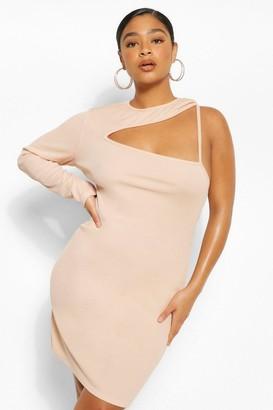boohoo Plus Rib Cut Out Bodycon Dress
