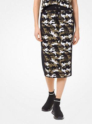 Michael Kors Camouflage Stretch-Viscose Jacquard Skirt