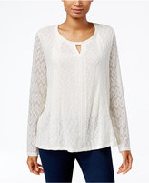 Style&Co. Style & Co. Crocheted Keyhole Top, Only at Macy's