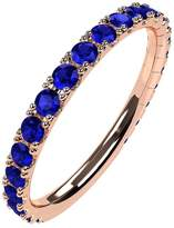 Nana Silver Stackable Ring All Round Rose Gold Flashed - Size 7 - Simulated Sapphire - Sept. Birthstone