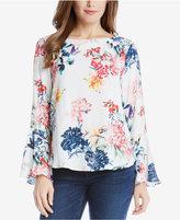 Karen Kane Bell-Sleeve Floral-Print Top