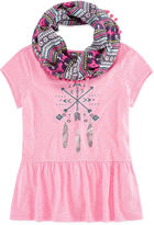 Arizona Graphic Peplum Top with Scarf - Girls 7-16 and Plus