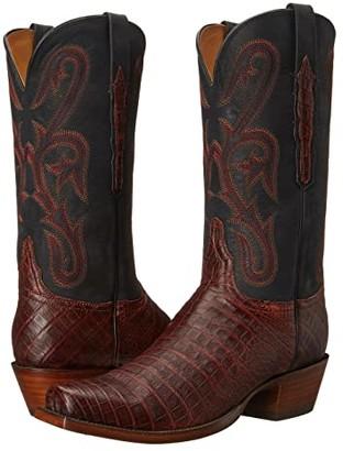 Lucchese L1454.74 (Raisin Caiman/Black) Cowboy Boots