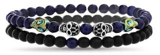 Lapis REINFORCEMENTS Stainless Steel Two-Tone Skull Stations W & Black Beads Duo Bracelet Set