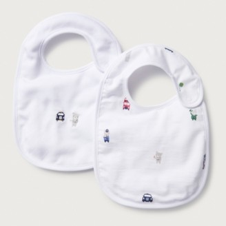The White Company Organic Cotton London Bear Bibs - Set of 2, White, One Size