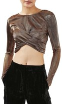 Topshop Metallic Twist Front Crop Top