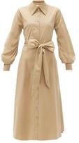 Racil Selman Cutout Cotton Shirt Dress - Womens - Beige