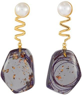 EJING ZHANG 'Tanguy' freshwater pearl stud swirl resin drop earrings