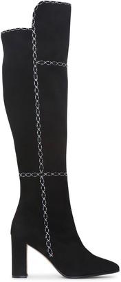 Manolo Blahnik Rubiohi black and grey high boots