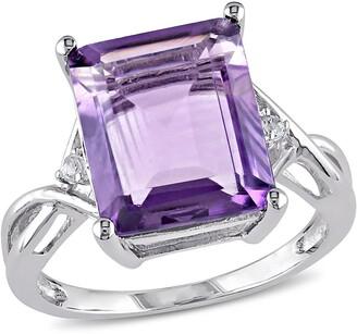Delmar Sterling Silver Emerald Cut Amethyst & White Topaz Accented Fashion Ring