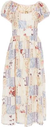 LoveShackFancy Lais Patchwork-effect Floral-print Cotton-poplin Maxi Dress