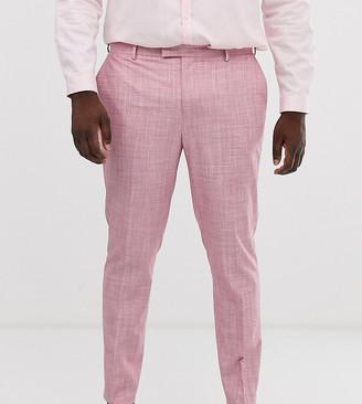 ASOS DESIGN Plus wedding skinny suit trousers in rose pink cross hatch