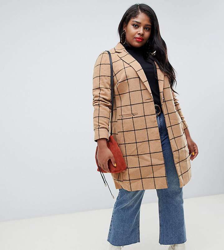 New Look Plus Curve coat with grid check in camel