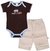 Kushies Chocolate 'Daddy's My Hero' Bodysuit & Khaki Pants - Infant